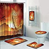 Philip-home 5 Piece Banded Shower Curtain Set Christian Easter Concept of Crosses on Calvary Hill and Praying Hands Decorate The Bath