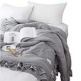 WINLIFE Ultra Soft Seersucker Ruffle Bed Spread Summer Coverlets Set Gray Twin