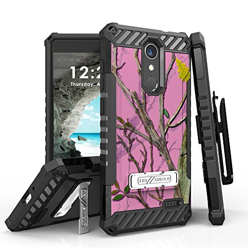 Tri-Shield Military Grade Case Bundle with Belt Clip Holster (Pink Camo),  [90 Degree/Right Angle] USB Type C Cable [4 Foot], Atom Cloth for ZTE Blade