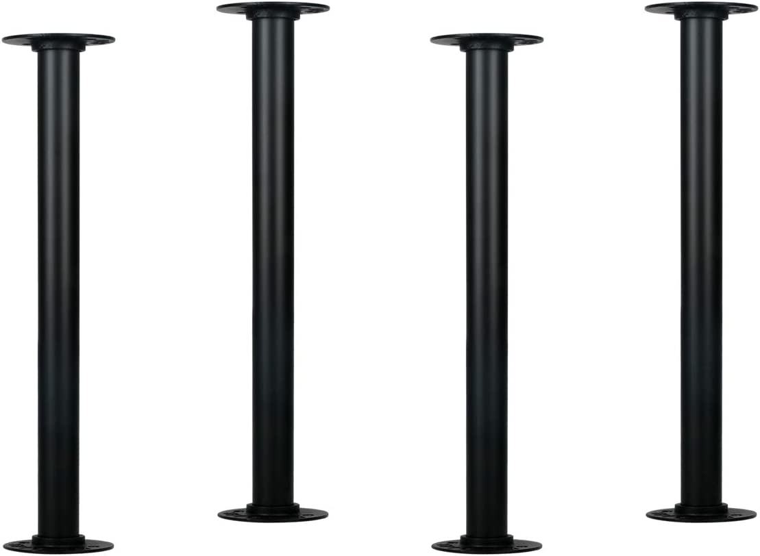 HouseAid 16 Inch Industrial Pipe Table Legs, Rustic Steel Legs for Custom Vintage Tables and Furniture, DIY Heavy Duty Metal Legs for Farmhouse Home Décor, Matte Black, 4PCS