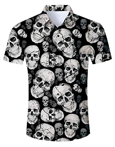 ALISISTER Mens Halloween Dress Shirt Womens Skull Button Down T Shirts Short Sleeve Horrible 3D Stylish Costumes Adult Summer Vacation Holiday 2018 Top Slim Fit Round Neck Apparel Lightweight Gray XL