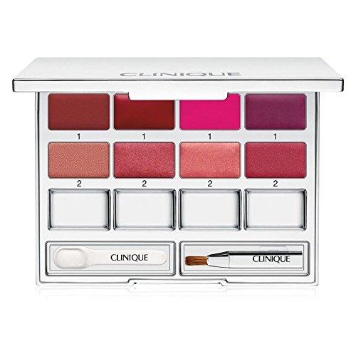 (Clinique Pretty Easy Lip Palette 8 Colors Brush Spatula Mirrored Compact NIB)