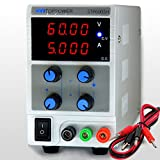 SKYTOPPOWER 0- 60V 0- 5A Variable DC Power Supply 4 Digit LED Displays 110/220V Switchable with Alligator Cable,Adjustable Regulated Lab Grade Safe Circuit Design