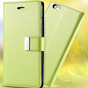 Original Brand Luxury Colorful PU Flip Leather Case For Apple iphone 6 Wallet Stand Multi Card Slots Cover For iphone 6 Plus --- Color:black For i 6 plus