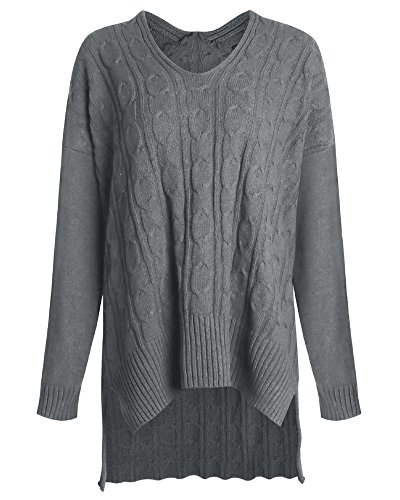 Totoci Women's Casual V Neck Loose Fit Knitted Sweater Slouchy Pullover Top (M, Gray)