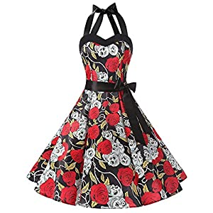 DRESSTELLS 50's Vintage 1950s Rockabilly Polka Dots Audrey Dress Retro Cocktail Dress