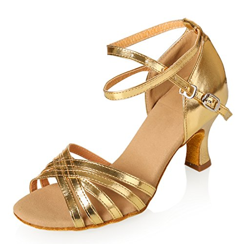 Women's Professional Latin Dance Shoes Satin Salsa Ballroom Wedding Dancing Shoes 2.4'' Heel Gold by GetMine
