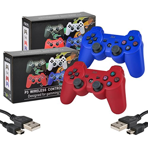2 Pack Bluetooth Wireless Controller for PS3 Controller Double Shock Gamepad 6-Axis Game Controller for PlayStation 3 Bonus 2 Charging Cable by Kabi(Red+Blue)
