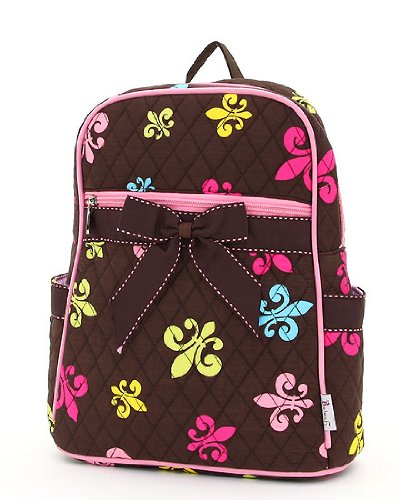 (Quilted Fleur De Lis Print Zippered Backpack (Brown & Multi))