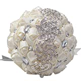 DOTKV Wedding Bouquets, Wedding Bouquets for Brides, Wedding Bouquets for Bridesmaids, Artifical Rose Posy with Satin Jeweled Throw Bouquet, Bridesmaid Holding Flowers (Ivory)