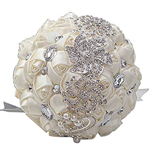 DOTKV Wedding Bouquet, Artifical Rose Posy with Satin Jeweled Throw Bouquet, Bridesmaid Holding Flowers,Wedding Guardian, Wedding Memories Forever(Ivory) 91