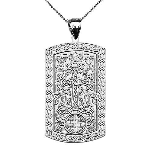 Armenian Cross (Khachkar) 10k White Gold Engraveable Dog Tag Pendant Necklace (White Gold Dog Tag Pendant)