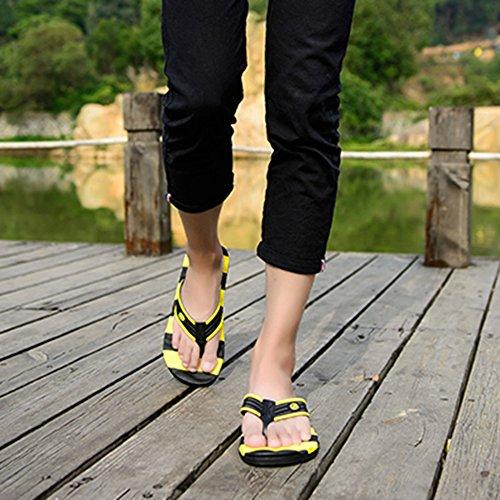 Hombres Los Del Pie Clip Zapatillas Yellow Playa Tirón Verano Ocasionales Piscina Antideslizantes Dedo De Sandalias pSIqnEw0tt