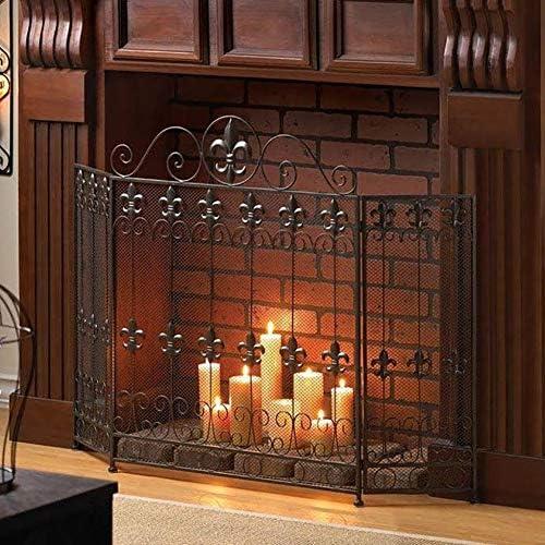 大型錬鉄暖炉スクリーン、3パネル折りたたみ式スパークガードメタル装飾メッシュカバーベビー耐火フェンス、Fireストーブアクセサリー