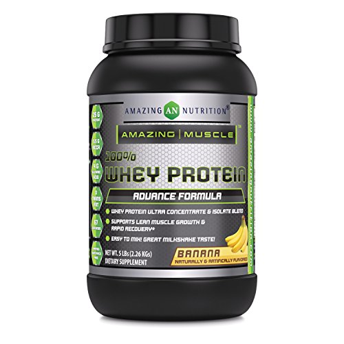 Amazing-Muscle-100-Whey-Protein-Powder-5-Lbs-Advance-Formula-High-Performance-With-Complete-Array-Of-Amino-Acids-Delicious-Banana-Flavor