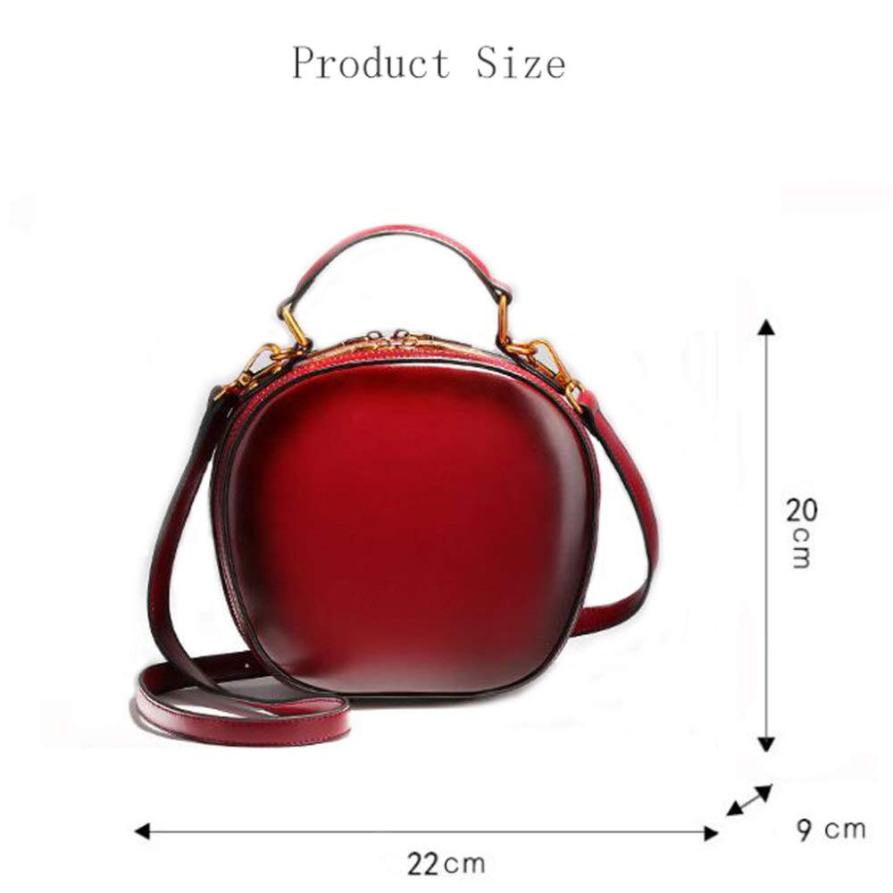 Women's Shoulder Messenger Bag Leather Bag Round Bag Double Row Zipper for Makeup Travel Can Accommodate Mobile Phones and Wallets,Orange by ZXDFG (Image #3)