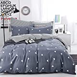 NANKO Duvet Cover Queen Bedding Set, 3 Pieces w/o Comforter - Geometrical Striped Reversible Print Microfiber Quilt Bed Covers, Lightweight Hypoallergenic with Zipper, Tie for Men/Women, Blue Gray
