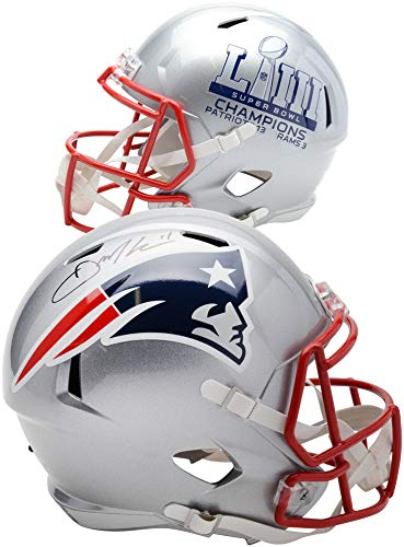 Bowl Super Autographed Nfl (Julian Edelman New England Patriots Autographed Riddell Super Bowl LIII Champions Speed Replica Helmet - Fanatics Authentic Certified)