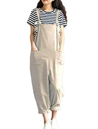 7373a49e34a45 Mallimoda Women's Plain Loose Overall Strap Sleeveless Wide Leg Dungarees  Jumpsuit Playsuit: Amazon.co.uk: Clothing