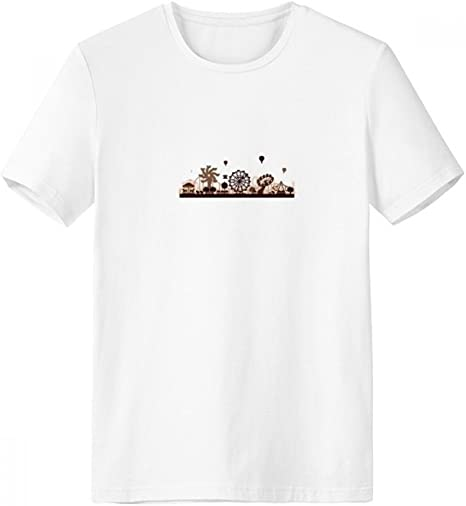 DIYthinker Negro parque de atracciones Instalaciones de la silueta con cuello redondo de la camiseta blanca de manga corta Comfort Deportes camisetas de regalos - Multi -: Amazon.es: Ropa y accesorios