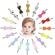 Prohouse 16PCS Baby Nylon Headbands Hairbands Hair Bow Elastics for Baby Girls Newborn Infant Toddlers Kids (Leather headbands)