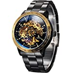 Carrie Hughes Men's Steampunk Automatic Mechanical Discoloration Glass Skeleton Stainless Steel Watch 6