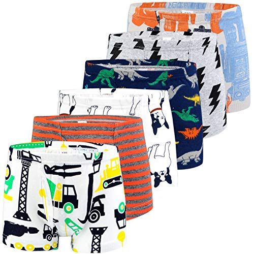 BOOPH Boys Boxer Briefs Shorts, Cotton Dinosaur Robot Baby Toddler Underwear for Kids Boy 4-5Y