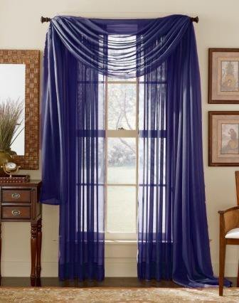 WPM/AHF 1 X Royal Blue Elegance Sheer Scarf Valance 216'' Long (Scarf Royal Blue Curtains)
