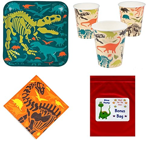 Dinosaur Theme Tableware Pack Kid's Birthday Party Supplies Set for 16 -