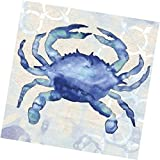 "Custom Made & Disposable {6.5"" Inch} 20 Count of 3 Ply Mid-Size Size Square Food & Beverage Napkins, Made of Soft Absorbent Paper w/ Antique Painted Crab Birthday Party Style {Blue, Black, & White}"