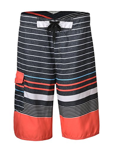NONWE Men's Summer Swimming Wear Beach Surf Board Shorts Casual Sport Trunks Colorful Stripe Beach Short 12730-28