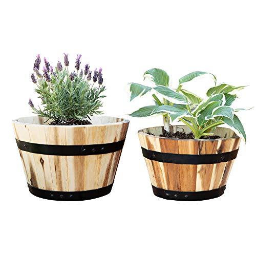 - Villa Acacia Round Wood Pots, Set of Two (11