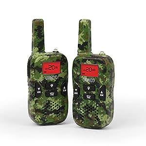 Walkie Talkies for Kids, 2 Way Radio 22 Channel FRS/GMRS Kids Walkie Talkies 3.7 Miles UHF Handheld Walkie Talkies (1 Pair) Army Green