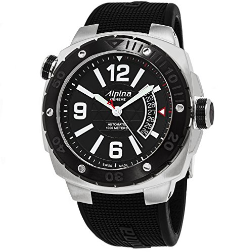 Alpina Extreme Diver 1000 Meters Mens 45mm Black Face Black Rubber Strap Luminescent Diving Watch - Swiss Automatic Waterproof Dive Watch AL-525LBB5AEVZFB6