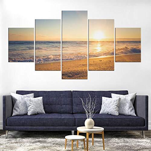 mmwin HD Print Modular Picture Canvas 5 Panel Beach Sunset ...