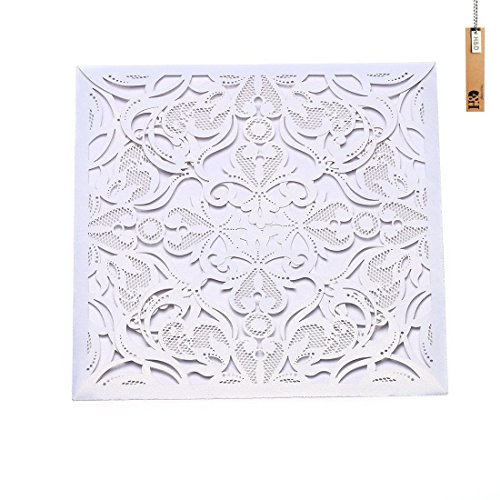 Laser Cut Wedding Invitations Cards 60pcs Ice White Kits for Marriage Engagement Birthday Bridal Shower(60 pcs ice white)