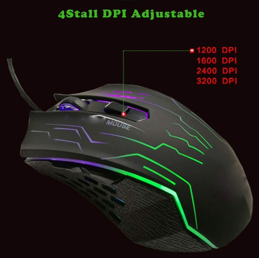 XUMINGSB Professional Mouse Silence Click USB Connection Game Mouse Button 3200 dpi Matte for PC Laptop Laptop Mouse Mouse Game Player