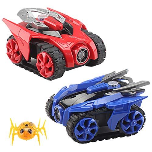 Pjjfmcbom Battle Armored RC Car Infrared Spider, 2.4G 2pcs Battle Multi Player Crawling Toy Hit Spider Game (Blue+Red, 1set)