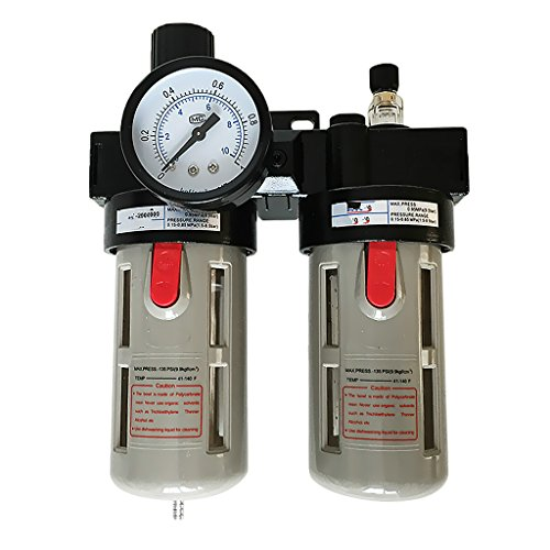MonkeyJack BFC3000 5/8'' Air Filter Regulator Combination Lubricator Two Union Treatment by MonkeyJack