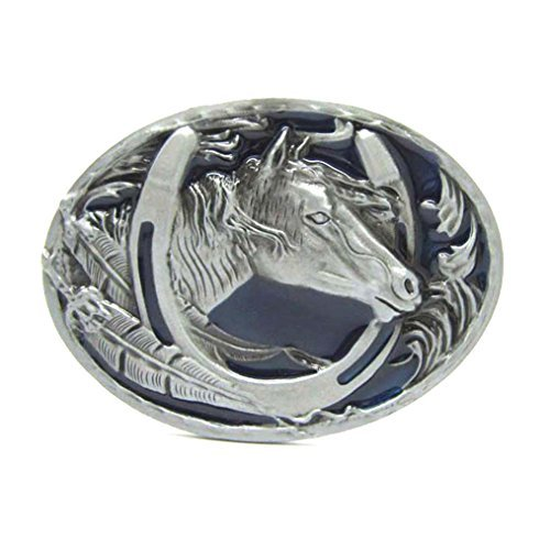 MASOP Engraved Animal Horse Head Horseshoe Oval Belt Buckle Men ()