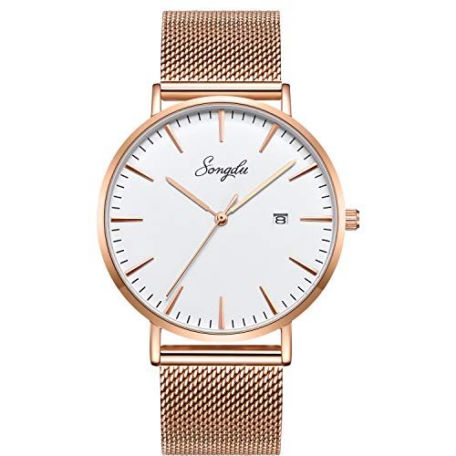 SONGDU Women's Fashion Watches Ultra-Thin Quartz Stainless Steel Wrist Watches with Date and Mesh Band(Rose Gold)