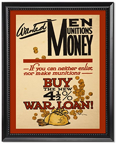 (ClassicPix Black Wood Framed Print 8x10: Wanted - Men, Munitions, Money. If You Can Neither)