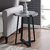WE Furniture AZF18MWSTDC Side Table Dark Faux Concrete