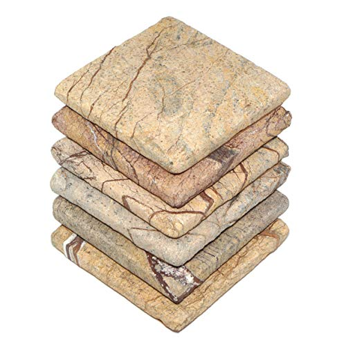 Forest Cork Tile - Stella Brown Forest Limestone Drink Coasters - Set of 6 - Premium Absorbent Natural Stone