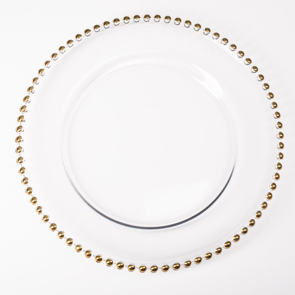 Richland 13'' Gold Beaded Glass Charger Plate Set of 12