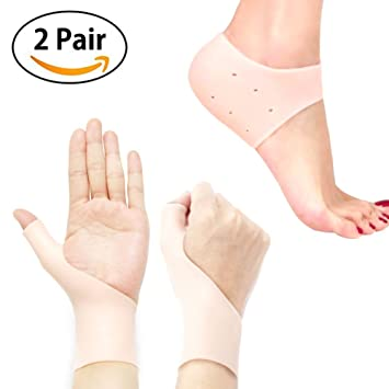 Gel Wrist Brace Carpal Tunnel Thumb Support/Foot Heel Protectors Gel Heel Socks Sleeve Pads