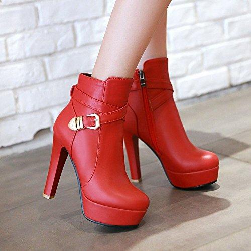 Carolbar Mujeres Zip Buckle Plataforma De Moda Sexy Vestido De Tacón Alto Botas Cortas Rojo