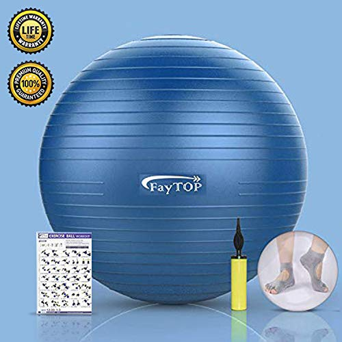 Exercise Therapy Ball - Exercise Ball for Yoga, Fitness, Workout, Balance, Pilates, Birthing, Therapy Balls - Non Slip & Anti-Burst & Extra Thick, Stability Office Ball Chair Supports 2200lbs (2019 Latest Upgrade 25 Inches)