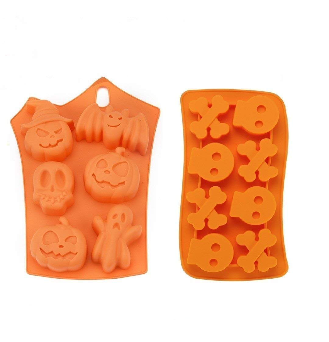Colybecation Set of 2 Silicone Halloween Candy/Ice / Cake/Chocolate Molds - Party Supplies with Pumpkins Skulls Crossbones Ghosts Bats Random Color