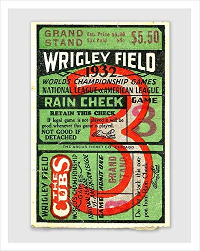 Chicago Cubs 1932 World Series Wrigley Field Ticket Stub poster print by delovely Arts ()